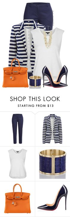"""Striped Blazer"" by oribeauty-cosmeticos ❤ liked on Polyvore featuring Jil Sander Navy, Oasis, Topshop, Brahmin, Hermès, Christian Louboutin and MANGO"