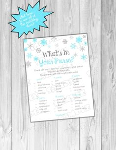 Winter wonderland Baby shower games blue snowflake what's in your purse game Printable INSTANT DOWNLOAD UPrint  by greenmelonstudios winter by greenmelonstudios on Etsy