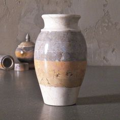 Recycled marble formed into a beautiful jar!
