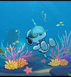 Snoopy learning about Marine Biology!
