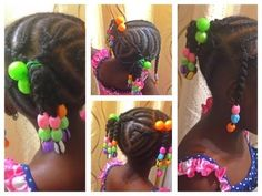 Hi everyone, I usually add beads to my daughter's hair from time to time. However, I had to come up with a better way to add beads as the popular way was det. Little Girl Braids, Girls Braids, Little Girls, African Threading, Hair Threading, Braided Cornrow Hairstyles, Funky Hairstyles, Natural Hairstyles For Kids, Natural Hair Styles