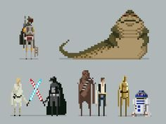 Starwarspixellineup. I want to create this with Legos on a grey grid to hang as art