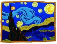 very cool quilt, try this. maybe use a paint-by-numbers as a pattern?