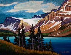 """""""Crowfoot Glacier,"""" by Nicholas Bott - Canadian Art, Cabin Art, Art Painting, Landscape Paintings, Landscape Artist, Tree Art, Cool Paintings, Landscape Pictures, Landscape Art"""