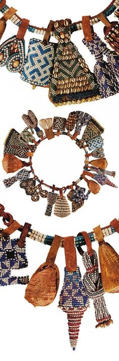Africa | Prestige belt from the Kuba people of DR Congo | Glass beads, shells and leather || Source; pg 188 ~ issuu.com/...