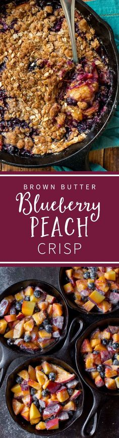 Sweet and juicy blueberry peach crisp with brown butter streusel topping!! So easy to make! Summer recipe on sallysbakingaddiction.com