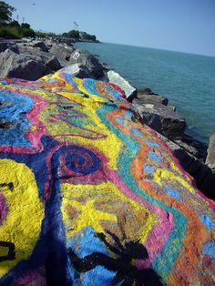 Rocks by the lake at Northwestern University