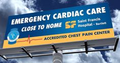 We created a billboard and direct mail postcard to promote Saint Francis Hospital-Bartlett's chest pain accredited emergency room. The billboard design won a Gold award in the 2014 Aster Awards and the postcard received a Silver Aster Award.