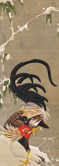 Detail. Itō Jakuchu. Rooster in Snow. Japanese hanging scroll. Eighteenth c. 若冲「雪中雄鶏図」 もっと見る