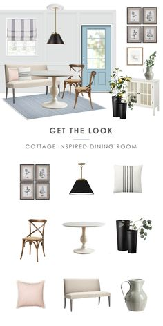 Get The Look: Mood Board For Cottage Inspired Small Dining Room. New Farmhouse Style, Light And Airy, Banquette Seating, Breakfast Nook. Little Dining Room Remodel. Motivation Board, Shop The Look. Dining Room Walls, Dining Room Design, Dining Room Furniture, Small Dining Rooms, Living Rooms, Home Renovation, Home Remodeling, Room Feng Shui, Modern Farmhouse