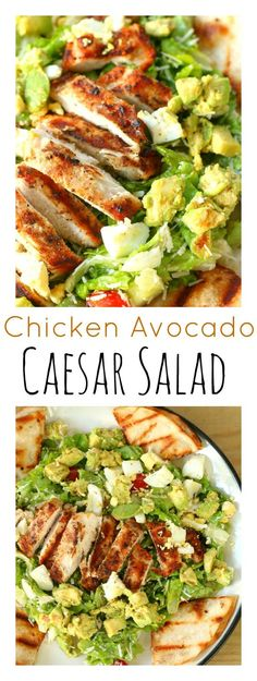 Healthy Chicken Avocado Caesar Salad =- Perfectly grilled chicken with tasty avocado & Parmesan cheese over a bed of fresh lettuce, and garnished with grilled garlic cheese tortilla slices. Healthy Salads, Healthy Eating, Healthy Recipes, Healthy Life, Avocado Recipes, Salad Recipes, Chicken Caesar Salad, Chicken Ceaser Salad Recipe, Chicken Salad With Avocado