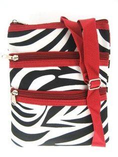 Small Hipster Cross Body Bag Purse Red Trim Zebra Print