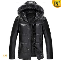 www.cwmalls.com PayPal Available (Price: $558.89) Email:sales@cwmalls.com; Mens Black Parka Down Leather Jacket with Fur Hood CW860025 Superb quality mens black fur trim down leather jacket crafted from genuine sheep leather shell and raccoon fur trim hood. Weather resistant padding down parka jacket insulates you from the cold.