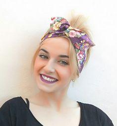 Headband scarf, Dolly bow headband, wire headband, vintage headband, women headband, teens headband, women bandana, japanese headband
