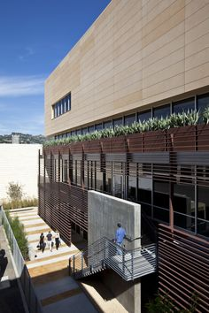 Office in Los Angeles. Yellow EQUITONE facade materials. equitone.com