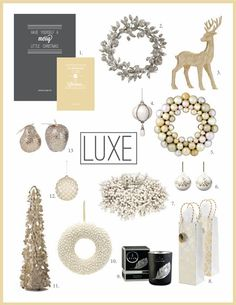 Luxe Christmas Decorating Theme from elizaellis.blogspot.com White wreath with gold bow n black ribbon