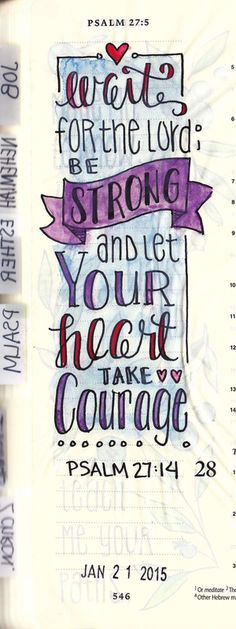 Psalm 27 in hand lettering. #Journaling Bible, Creative Journaling — Karlie Winchell | Creative Designer