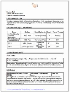 free resume samples for freshers 100 + Resume Format For Freshers Sample Template Example of . Professional Resume Format, Simple Resume Format, Job Resume Format, Job Resume Examples, Resume Work, Cv Format, Resume Ideas, Resume Cv, Student Resume Template