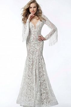4fdfbe0401a Off White Nude Embellished Lace Long Sleeve Evening Dress 63155  Jovani   EveningDress  FormalGown