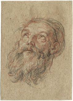 Antoine Coypel (1661–1722), Head of a Bearded Man, 1715/17, Black, red and white chalk |  © Nicolaas Teeuwisse OHG