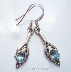 Brinco indiano de prata com Topázios Swiss Blue!  Silver indian earrings with Swiss Blue Topaz