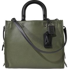 Coach 1941 GLOVETAN PEBBLE ROGUE BAG ($1,045) ❤ liked on Polyvore featuring bags, handbags, green, green bag, green handbags, pebbled-leather handbags, coach 1941 and pebbled-leather bags