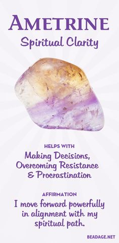 Ametrine Meaning and Properties Ametrine combines the healing properties of Amethyst and Citrine, two of the most powerful healing crystals you can work with. Ametrine helps you find clarity, make decisions, and move forward powerfully in a