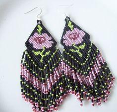 Beaded rose earrings  Valentines earrings  by joymakersdesigns