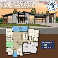 Architectural Designs Exclusive Home Plan gives you 4 bedrooms, 4 baths and sq. Metal House Plans, New House Plans, Dream House Plans, House Floor Plans, Modern Floor Plans, Modern House Plans, Modern House Design, House Plans South Africa, Sims House