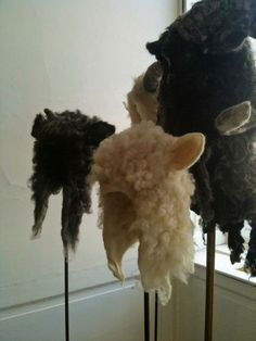 Wool felted hoods, I really WANT one, preferably a black sheep head.    kc