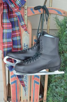 $29.90  ✿   bluefolkhome on etsy ✿  Mens Ice Skates #1 Old Vintage Black Skates Winter Decor Decorative Piece Ice Skates Decor I Ship Internationally