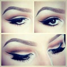Perfect winged eyeliner with natural crease