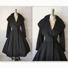 50's Lilli Ann Coat // Vintage 1950's Lilli Ann New Look Black Mohair Princess Evening Dress Coat S M