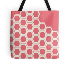 Salmon and Cream Hexagon #Pattern #totebag