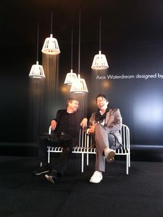 """New Axor """"WaterDream"""" Installation with Nendo - Ceiling lamp shades / shower heads in action, with Oki Sato and Philippe Grohe soaking wet!"""