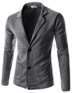 (JGA34-BLACK) Mens Slim Fit Basic Knitwear Casual Stylish 2 Button Cardigan Sweater