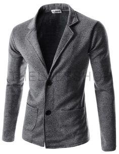 (JGA34-BLACK) Mens Slim Fit Basic Knitwear Casual Stylish 2 Button Cardigan Sweater