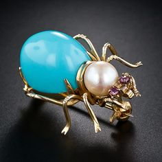 Garden Spider Pin 14K Yellow Gold, Turquoise, Pearl And Rubies