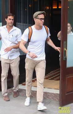 Ryan Reynolds wearing J Brand Brooks Trouser in Twill, Tom Ford Acetate Frame Fashion Glasses and Adidas Stan Smith Sneakers
