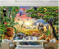 Custom 3d photo wallpaper 3d wall mural wallpaper Rainbow green woods parrot elephant animal children painting 3d wallpaper room