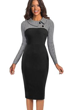 aaab8f732718 Grey Vintage Long Sleeve Pencil Midi Dress