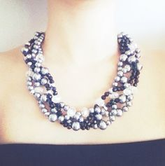 Twisted Statement Necklace, Multi Strand, Chunky, Black, Grey, Pearl Necklace, Bridal Necklace, Bridesmaid
