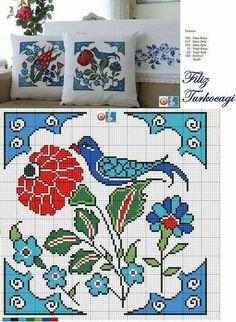 Yastıklar en az iki tane olmalıdır bence :)) Designed and s Cross Stitch Cushion, Cross Stitch Bird, Cross Stitch Borders, Cross Stitch Flowers, Cross Stitch Charts, Cross Stitch Designs, Cross Stitching, Cross Stitch Embroidery, Embroidery Patterns