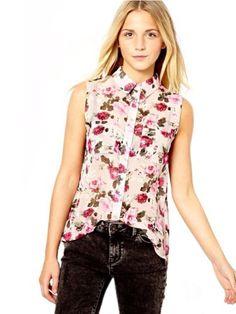 Damen Rose Print ?rmellos Chiffon Top Vest Weste Shirt Sommerkleid S