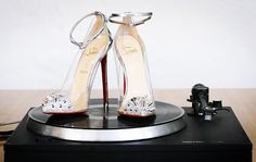 Christian Louboutin 'Just Picks' ankle-strap PVC pumps - Bold & Fierce choice for a Bride. <3