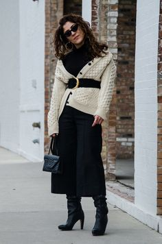 Christina N -  - Belted Cardigan Sweater w/ Culottes & Knee High Boots