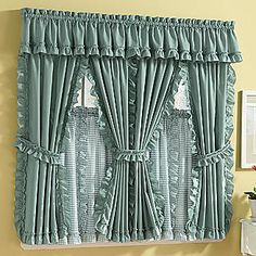 Mayfield Cape Cod Window Treatments in Solid & Pattern Kitchen Curtains And Valances, Ruffle Shower Curtains, Curtains And Draperies, Elegant Curtains, Home Curtains, Kitchen Curtain Sets, Beautiful Curtains, Modern Curtains, Window Coverings