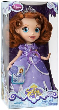 Hot New Release! Disneys Sofia the First Singing Doll - Playtime princess! Her mom married the King, now she's learning to be a Princess! Press glamorous satin-gowned Sofia's belly to hear her sing Anything from the hit Disney Channel show. Product