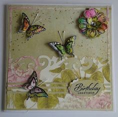 Here here our card for the Make & take on Friday 3rd July, I have used hand sanitizer with alcohol inks for the flowers and butterflies.