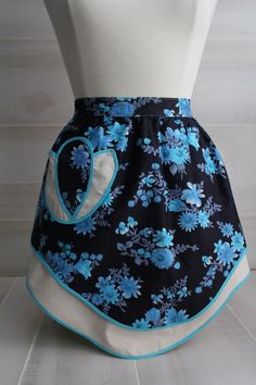Vintage 1950s Navy and Turquoise Floral Half Apron by theloftonbroome on Etsy